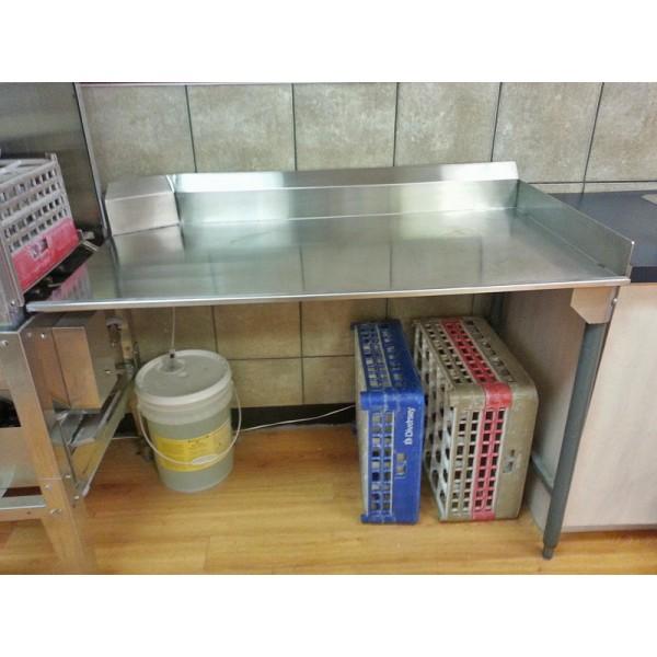 """Bottle washer drain table 42"""" with backsplash"""